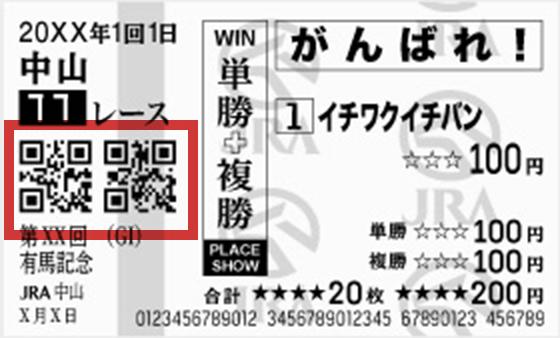 馬券のQRコード例